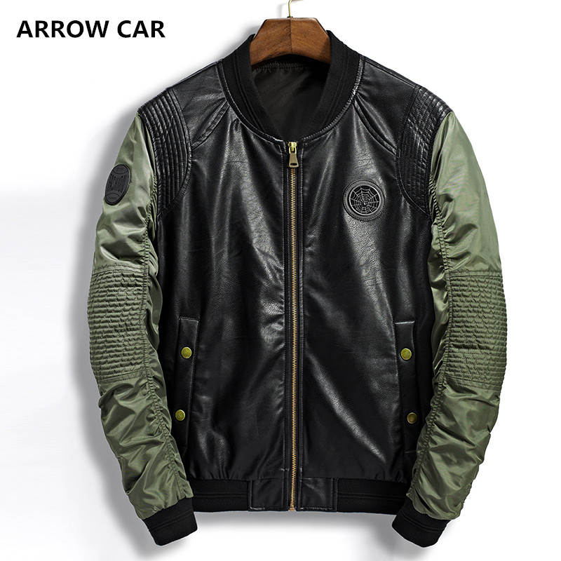 Veste hommes Patchwork vestes de Baseball Pu cuir manteaux Slim Fit collège décontracté pilote en cuir vestes casaco masculino