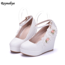 New High Heels Wedges Summer Women Pumps Casual Dress Wedding Shoes Elegant Rhinestone Platform Shoes Woman Shoes XY-B0046 new arrival luxury princess slipper ab color rhinestone wedding shoes high heels platform shoes women s wedding shoes