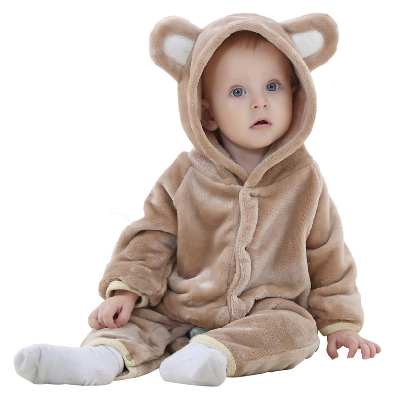 Kids rompers Cartoon Bear with hat Baby clothes coral fleece autumn winter animal romper for newborn baby boy girls clothing