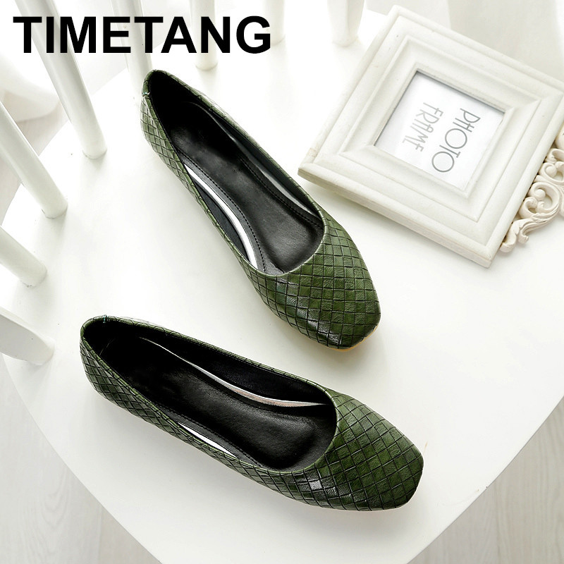 TIMETANG Spring Autumn Women Fashion Anti-slip Ballet Flats Soft Shoes Square Head Flat Heal Shoe Casual Soft Wear  C106