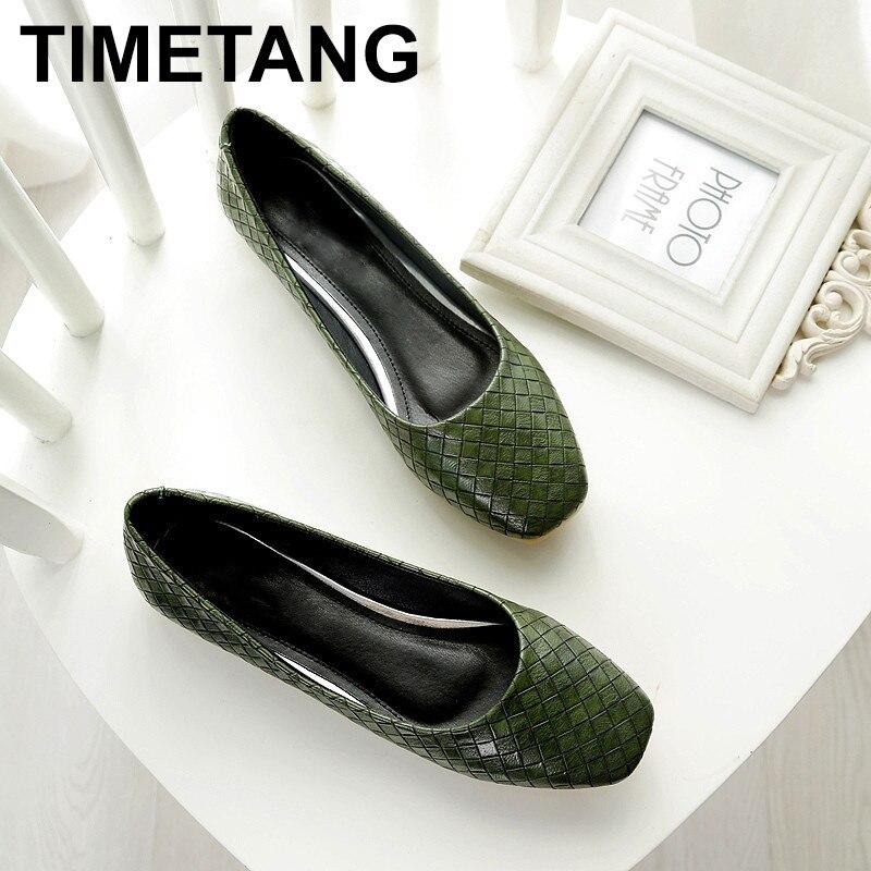 TIMETANG Spring Autumn Women Fashion Anti-slip Ballet Flats Soft Shoes Square Head Flat Heal Shoe Casual Soft Wear  C106