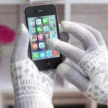Zimní unisexové pletené rukavice na dotykové telefony s vločkou