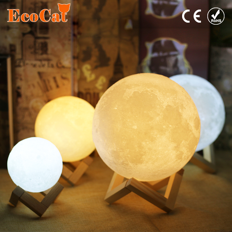 Moon Lamp LED 3D Print 15CM 18CM 20CM LED Night Light 2 Color Change Touch Switch Home Decor Bedroom Bookcase Atmosphere Light usbrechargeable 3d print moon lamp yellow red change touch switch bedroom bookcase night light home decor creative birthday gift