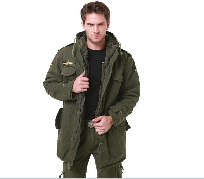 Men German Army 2-in-1 detachable fleece lining hooded cotton warm jacket outdoor caping mountain climbing camping field gear - Anna's holiday store