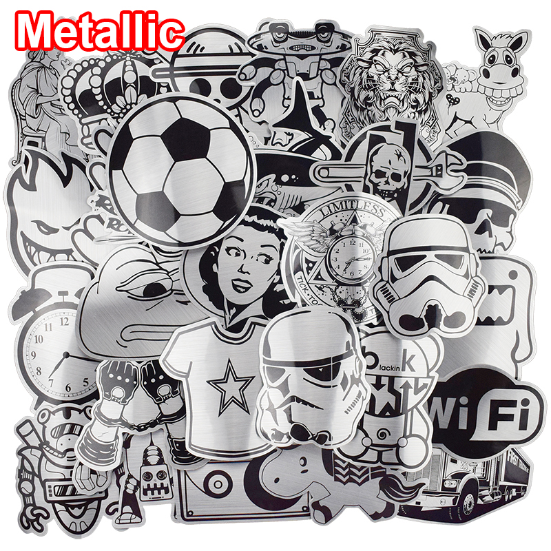 50 Pcs Metallic Black and White Stickers for Laptop Skateboard Luggage Car Styling Home Decor JDM Cool Funny Waterproof Sticker