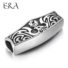Stainless Steel Large Slider Bead Fire Phoenix Slide Charms Fit 8mm Round Leather Rope DIY Men Bracelets Jewelry Making Supplies недорого