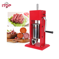 ITOP New Arrival Red Double Speeds Manual Sausage Stuffer Vertical Stainless Steel 3L Pound Meat Filler Mear Processors