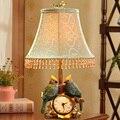 Dekorative Vogel Uhr Tisch Lampe Nacht Lampe Vintage Harz Stil Kurze Moderne Lampenschirm Wohnzimmer Schlafzimmer E27 Led Nacht Licht-in Tischlampen aus Licht & Beleuchtung bei