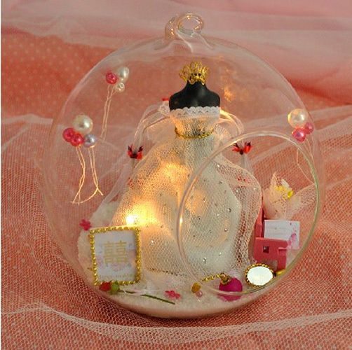 HOT Manual DIY Toy Cabin Glass Ball Assembled Miniature Dollhouse Creative Romantic Birthday Gifts Sent To The Boys And Girls In Model Building Kits From