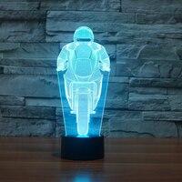 Rit Motorfiets Moulding Nachtlampje 3D Kleurrijke Veranderende Tafellamp LED Acryl Touch Knop Lichtpunt Geschenken Slaapkamer Decor