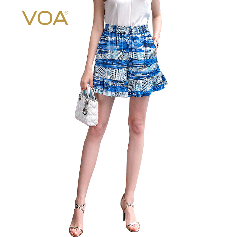 VOA 2017 Summer Casual Print High Waist Silk Shorts Skirts Plus Size Loose Leisure Wear Beach Boho Ruffles Shorts KSA00202