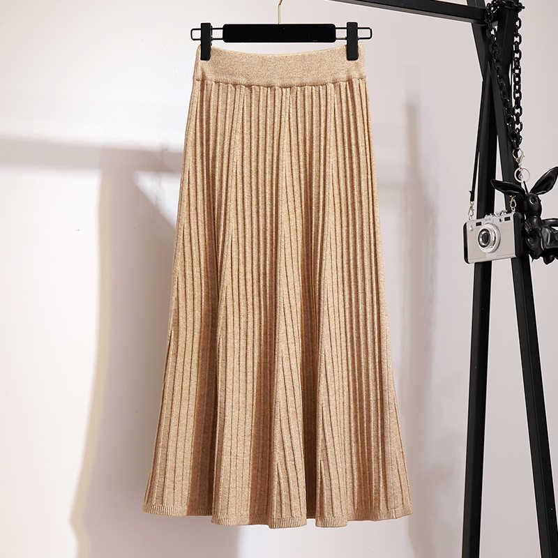 Otoño mujer elástico de cintura alta de punto gris plisado falda sólida Casual faldas Midi 2019 invierno negro marrón A línea acampanada falda