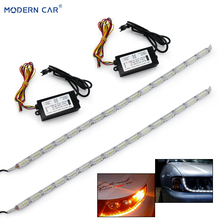 MODERN CAR 2x Crystal Strip Lamp Tears Flexible White Yellow Switchback LED Day Lights Sequential DRL Flowing Turn Signal Light
