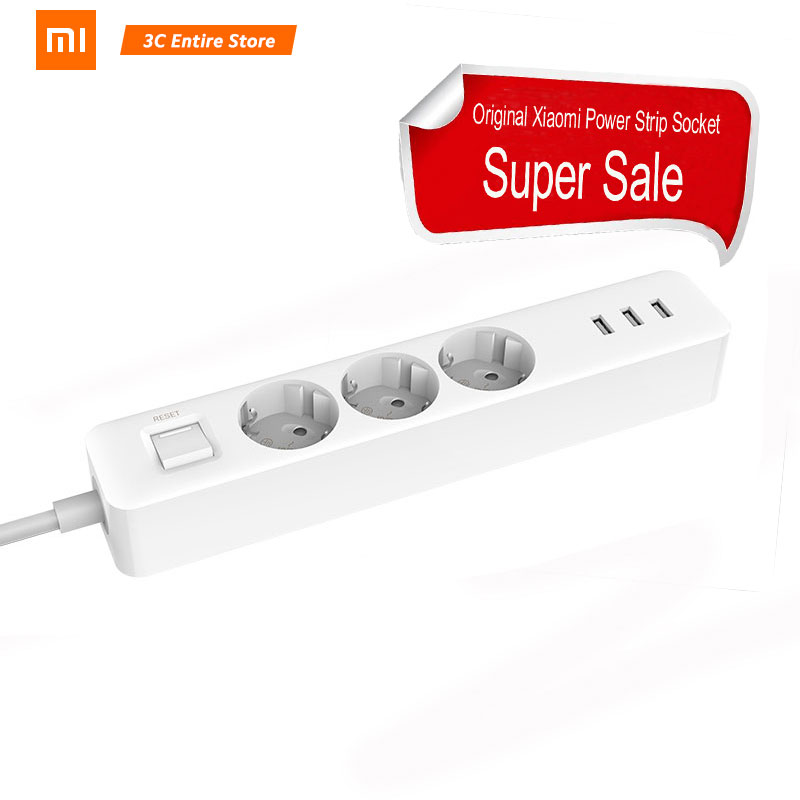 New Arrival Original Xiaomi Mijia Power Socket Strip 3 Sockets 3 USB Port Big Plug Extension Patch Board For Home Office Global