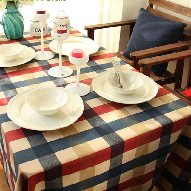 Actionclub pure cotton table cloth edinburgh plaid printed table cover home decorative embroidered table cover toalha