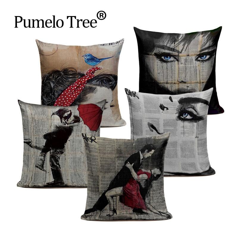 Newspaper Background Vintage Style Decorative Throw Pillows Nude Woman Art Cotton Linen Cushion Cover Girl Sofa Home Almofadas