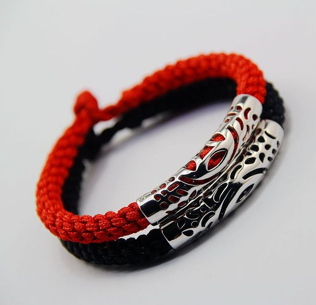 Red And Black Thread Weaved Bracelet Bangle 925 Unique Design Fashion Jewelry For Men