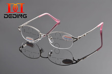 DEDING Elegant Women Lady Metal Half Rim Oval presbyopia Lens Multifocal Progressive Reading Glasses gafas de lectura DD1131