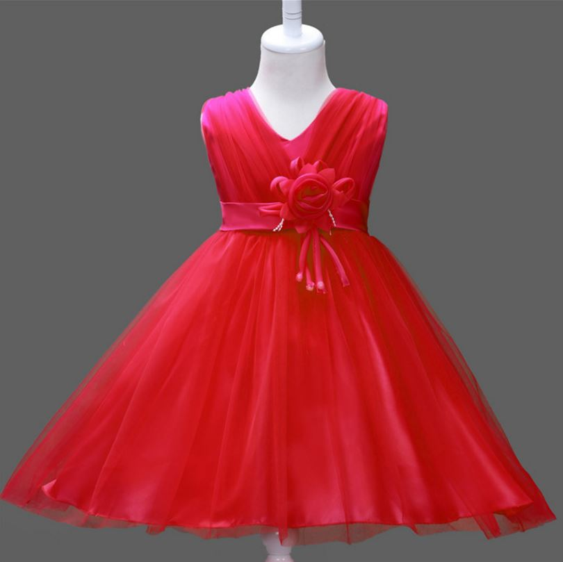 New Fashion Summer Clothing Baby Girls Sleeveless Children dress,Wedding Party Kids Costumes Flower Belt Hot selling YAA045 girls dress winter 2016 new children clothing girls long sleeved dress 2 piece knitted dress kids tutu dress for girls costumes