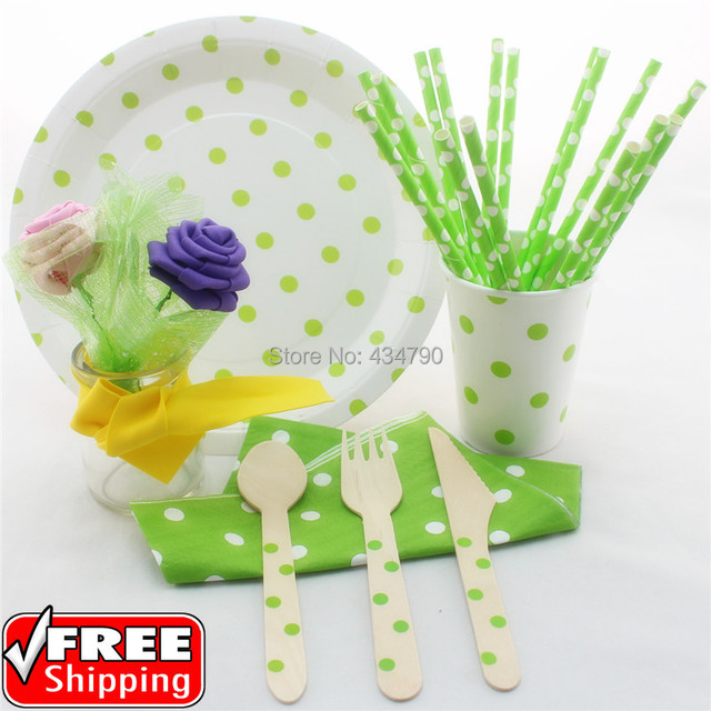 168 pieces/lot Green Polka Dot Party Tableware Dinnerware Set-Decorative Paper Straws  sc 1 st  AliExpress.com & 168 pieces/lot Green Polka Dot Party Tableware Dinnerware Set ...