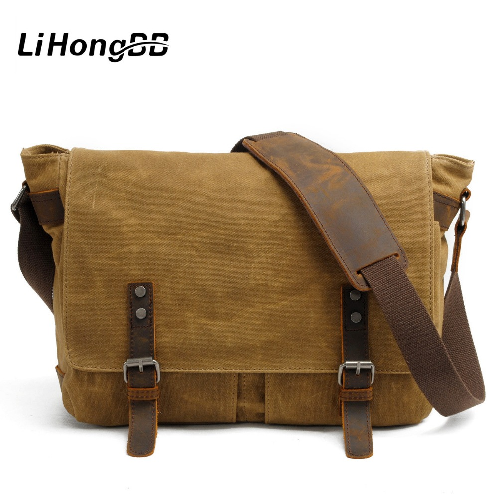 Waterproof Men Messenger Bag Multifunction Canvas Leather Crossbody Bag Men Military Army Vintage Travel Shoulder Bag Briefcase canvas leather crossbody bag men briefcase military army vintage messenger bags shoulder bag casual travel bags