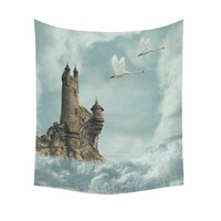 Fantasy Castle Home Decor Tapestries Wall Art Ocean Wave Swan Tapestry Wall Hanging Art Sets 51