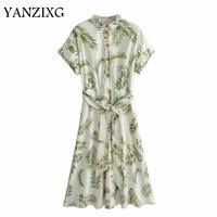 Women Palm Leaves Green Dress 2019 Summer Fashion Ladies Boho Twill Dresses Belts Bohemian Girls Chic Clothes E023