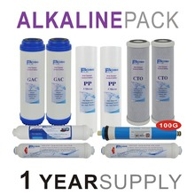 Alkaline Reverse Osmosis System Replacement Filter Sets - 10 Filters with 100 GPD RO Membrane Elements -1 Year Supply-PACK OF