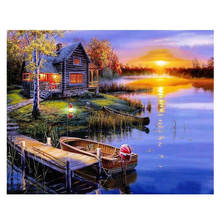 Lake Painting By Numbers,Decoration Oil For Living Room,Drawing Numbers Boat