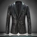 Very Good Quality New Suit Jacket For Men Suit Jackets Velvet Design Crocodile Leather Dress Blazer M-4XL Terno Masculino #812