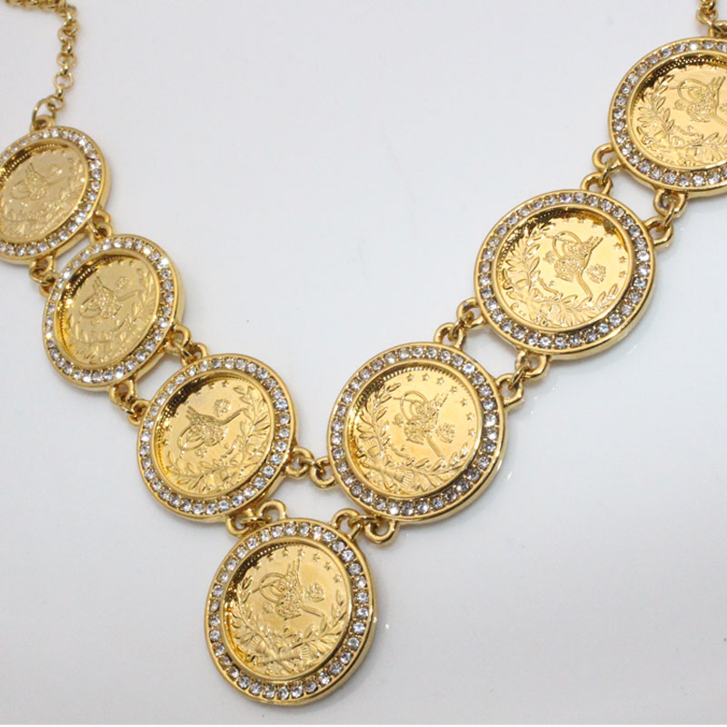 zkd 55 cm Turkey Coins Arab Coins crystal islam muslim necklace  Turks Africa Party jewerly