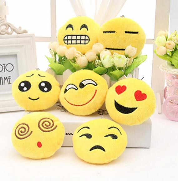 1 Pcs Emoji Smiley Emoticon Stuffed & Plush Toys Cute Soft Yellow Round  Whatsapp Emoji Plush Toy Small Pendant