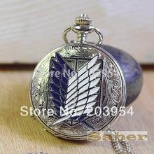 new Pocket Watch quartz Necklace Attack on Titan Silver Free