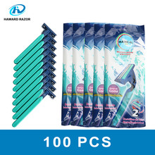 HAWARD RAZOR 2 Blade Disposable Razor For Men With Strip Rubber Handle Fixed Head Super Stainless Steel 50 or 100 Pcs