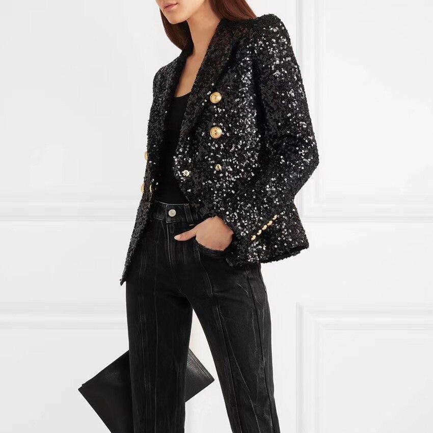 Alta qualidade nova moda 2019 designer blazer jaqueta feminina leão botões duplo breasted shimmer lantejoulas blazer