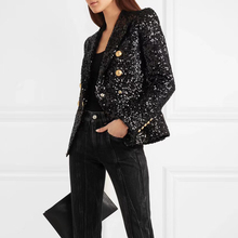 HIGH QUALITY New Fashion 2020 Designer Blazer Jacket Womens Lion Buttons Double Breasted Shimmer Sequined Blazer