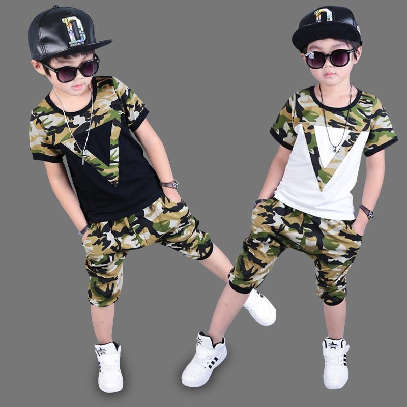 2017 summer children's clothing set Costume Camouflage Letter V T-shirt & Hip Hop harem dance capris pants kids suits