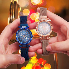 Luxury Diamond Rose Gold Women Watches Ladies Starry Sky Magnetic Watch with Strap Mesh Steel Rhinestone Wristwatch