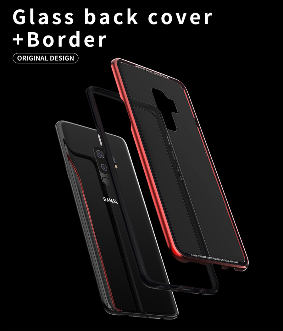 Luxury Aluminum Phone Cases For Samsung galaxy s9 Original R-just Hardness Tempered Glass Cover Case S9 Plus S9+ Accessories (3)