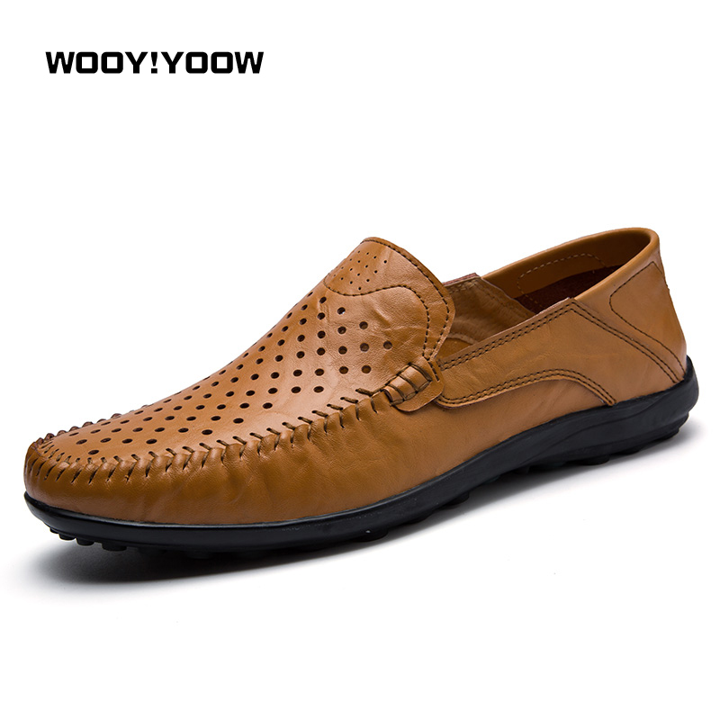 WOOY!YOOW 2018 New Summer Spring Breathable Peas Shoes Men's Casual Shoes Soft Genuine Leather Sneakers Men Loafers Flat Shoes