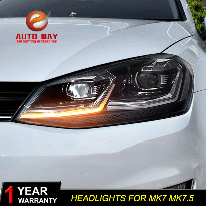 Car Styling Head Lamp case for VW Golf7 Headlights Golf 7 MK7 2013-2017 LED Headlight DRL Lens Double Beam Bi-Xenon HID