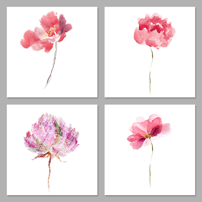 4 Pieces Pink Purple Flowers Rose Watercolor Decoration Wall Art Pictures Canvas Paintings For Living Room Home Decor Unframed