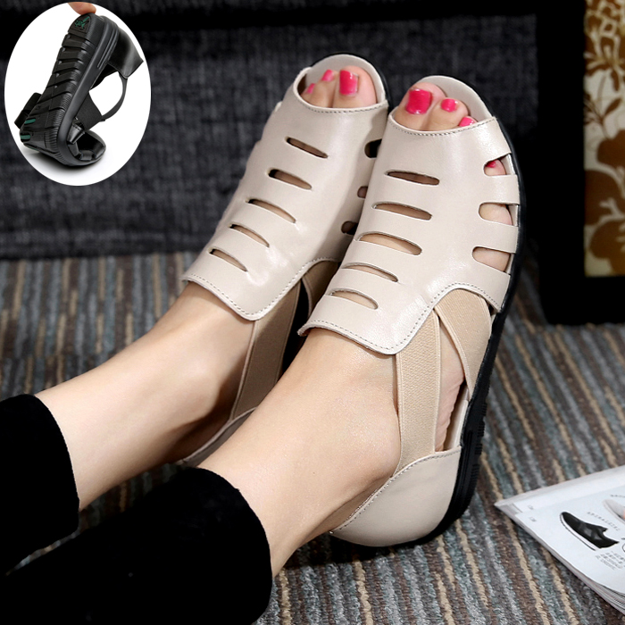 Summer new low-heeled sandals women's flat-bottomed leather hollow fish mouth shoes female non-slip soft base mother shoes
