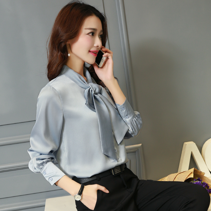 cc7c3aa03c2df Bowtie Design OL Shirt 2018 spring women s elegant solid color silk blouse  loose plus size long sleeve tops-in Blouses   Shirts from Women s Clothing  on ...