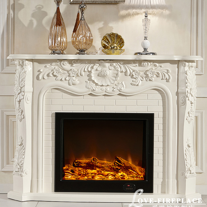 French style fireplace wooden mantel W150cm plus electric fireplace insert artificial LED