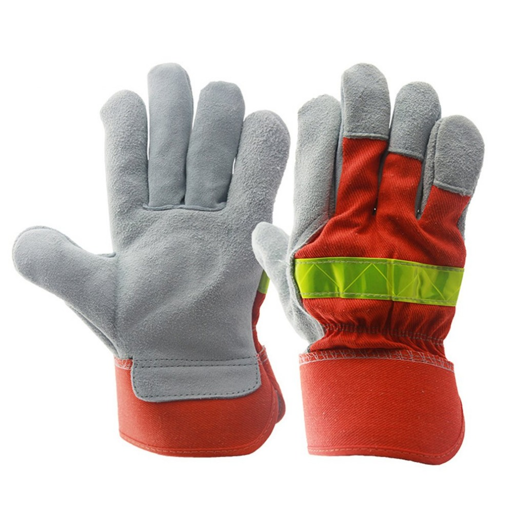 Leather Work Glove Safety Fire Protective Gloves Fire Proof Anti-fire Equipment Heat Resistant With Reflective Strap safurance anti cuttingextended wearable welding gloves industrial leather protective glove workplace safety fire retardant