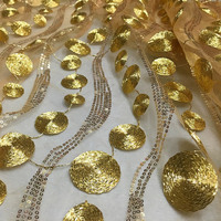 De alta calidad hilo de oro lentejuelas cuentas hilo de malla/encaje bordado de ropa de tela/material de tienda/onda del Círculo tela/encaje