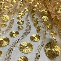 De haute qualité fil d'or paillettes perle maille fil/dentelle broderie vêtements tissu/boutique matériel/cercle vague tissu/broder
