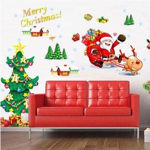 Счастливый Новый Год и Рождество Снежинка Рождественская Елка Стены Стикеры Магазин Наклейки Оконные Стекла Чай Магазин Водонепроницаемый Наклейки