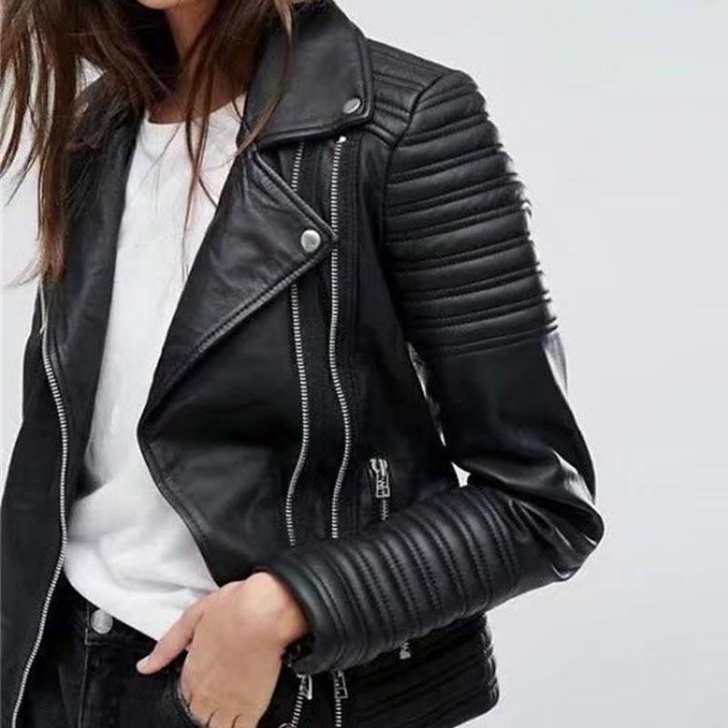 2019 New Fashion Women Smooth Motorcycle Faux   Leather   Jackets Ladies Long Sleeve Autumn Winter Biker Streetwear Black Pink Coat